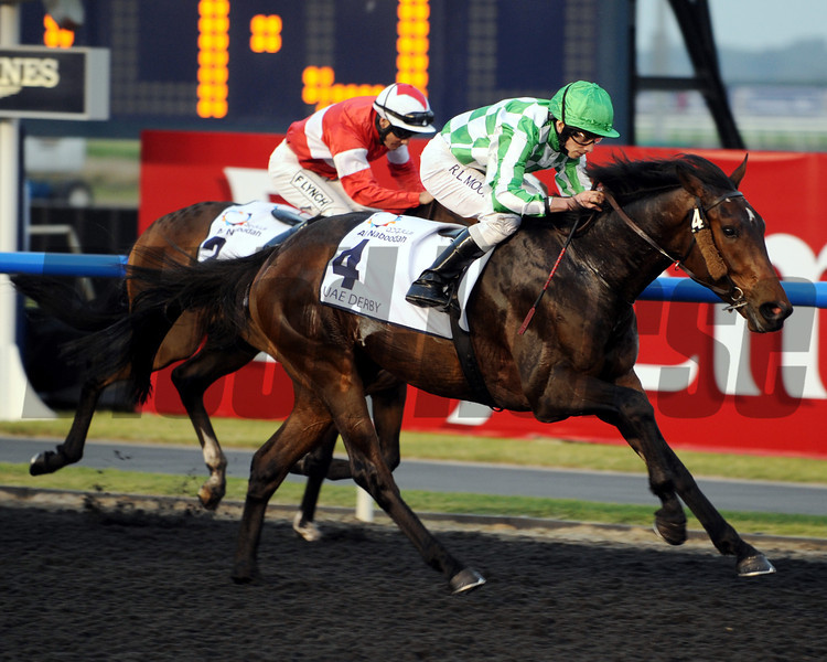 Lines of Battle wins the 2013 UAE Derby.<br /> Photo by Dave Harmon