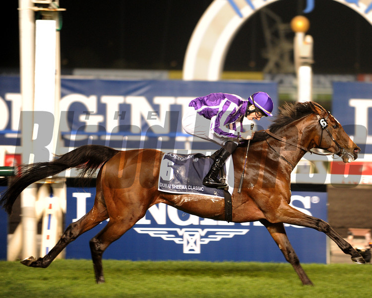Coolmore and partners' St Nicholas Abbey spoiled the international debut of sensational filly Gentildonna as he drew off in the stretch from the reigning Japanese Horse of the Year.<br /> Photo by Dave Harmon