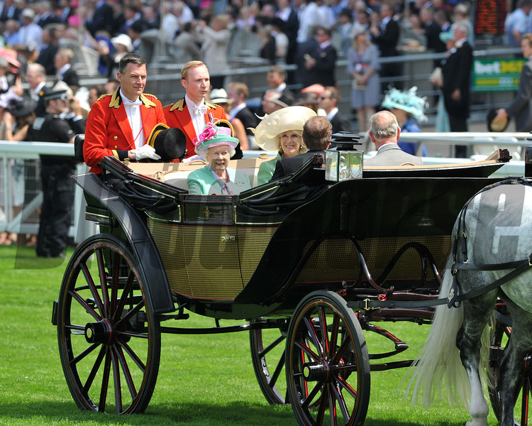 The queen arriving at ascot by carriage, Royal Ascot; UK, photo by Mathea Kelley 6/19/13
