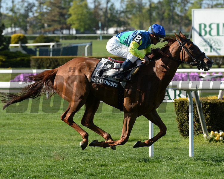 Dayatthespa wins the You Go West Girl Stakes at Belmont Park.<br /> Photo by Coglianese Photos/Joe Labozzetta