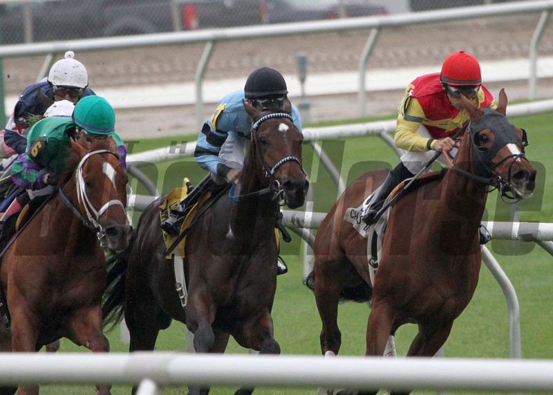 12/14/2013  -  Jockey Rosie (left, green cap) aboard Hud's Rebellion moves on the final turn to challenge  Sadie's Soldier with Diego Saenz (black cap) up and Sweet Baby Gaines and jockey Richard Eramia then goes on to win the 23rd running of the$100,000  Louisiana Champions Day Turf at Fair Grounds.  .  Hodges Photography / Lynn Roberts