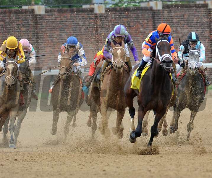 Princess of Sylmar, Mike Smith up (purple and blue silks) wins the 2013 Kentucky Oaks, 2013 Churchill Downs, Louisville, KY <br /> ©Photo by Mathea Kelley