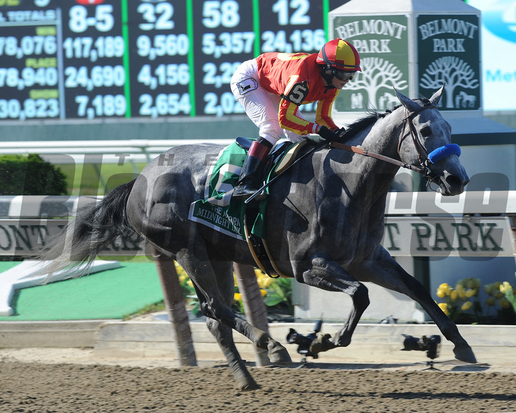 Midnight Lucky wins the Acorn Stakes.<br /> Coglianese Photo