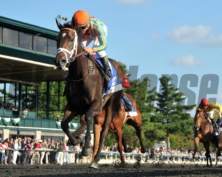 My Conquestadory, Eurico Da Silva up, wins the Darley Alcibiades, Keeneland Race Course, Lexington, KY, 10/4/13, photo by Mathea Kelley;