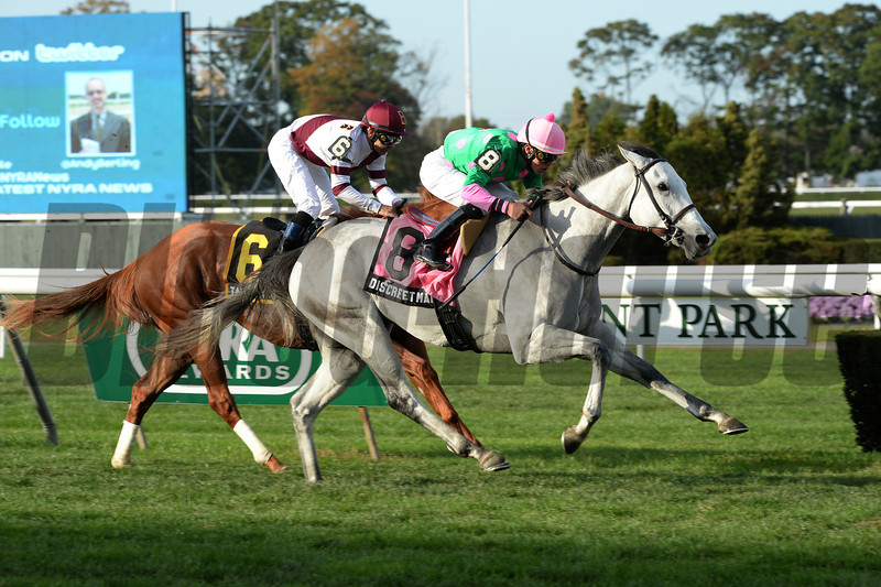One race after seeing her three-race win streak come to an end, grade I winner Discreet Marq bounced back to claim her third stakes victory this season with a clear victory in the $200,000 Pebbles Stakes Oct. 14 at Belmont Park.<br /> Coglianese Photos