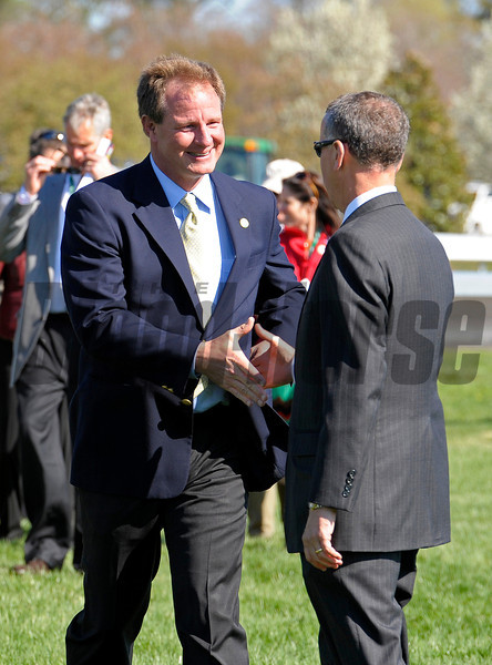 Caption: Owner Ian Banwell shakes hands with Keeneland president Bill Thomason<br /> Last Full Measure with Corey Nakatani wins the Madison.<br /> Keeneland racing scenes during April 13,  2013, at Keeneland in Lexington, Ky.<br /> JennyWileyANDMadison1  image 414<br /> Photo by Anne M. Eberhardt