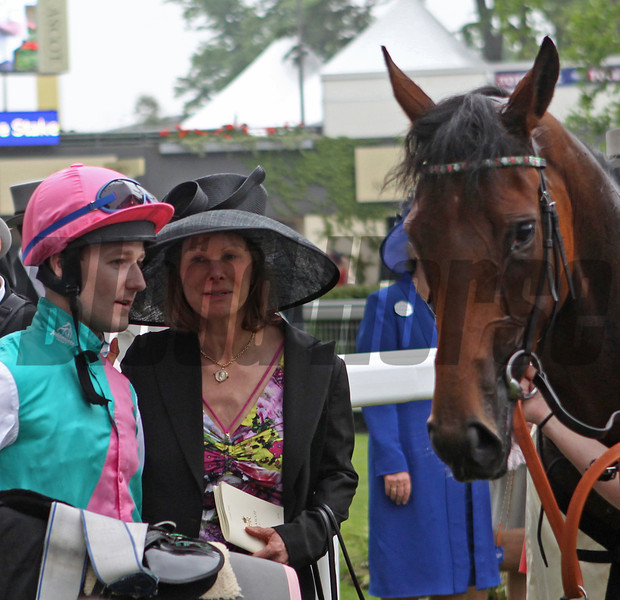 Racing from Royal Ascot The Ribblesdale Stakes 20/6/12<br /> Riposte and Jockey Tom Queally and Lady Jane Cecil<br /> Trevor Jones Photo