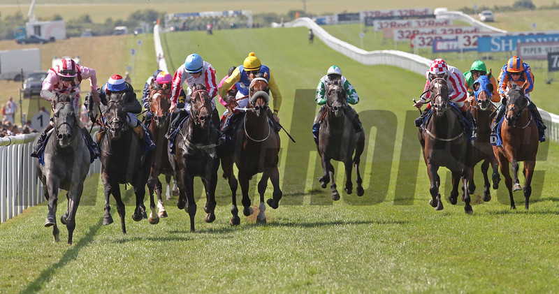 Racing from Newmarket 13/7/13. DARLEY july CUP.<br /> Lethal Force (left) ridden by Adam Kirby wins from Society Rock(second left) Slade Power (blue cap)  and Shea Shea (noseband).<br /> Trevor Jones Photo