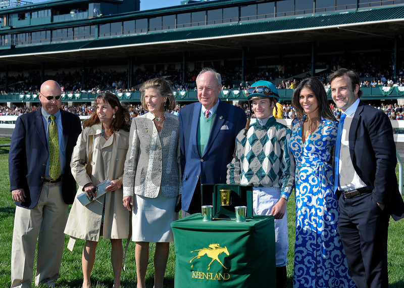 Caption: PRES: l-r, trainer Mr. and Mrs. Rusty Arnold, owners Mr. and Mrs. G. Watts Humphrey Jr., Julien Leparoux and presenters Wes and Anna Welker<br /> Centre Court with Julien Leparoux wins the Jenny Wiley.<br /> Keeneland racing scenes during April 13,  2013, at Keeneland in Lexington, Ky.<br /> JennyWileyANDMadison1  image637<br /> Photo by Anne M. Eberhardt