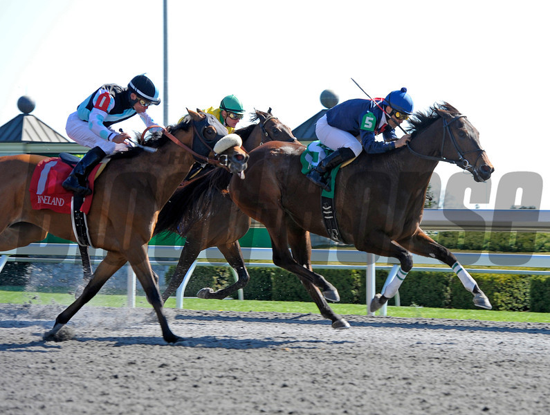 Caption: <br /> Last Full Measure with Corey Nakatani wins the Madison.<br /> Keeneland racing scenes during April 13,  2013, at Keeneland in Lexington, Ky.<br /> JennyWileyANDMadison1  image388<br /> Photo by Anne M. Eberhardt
