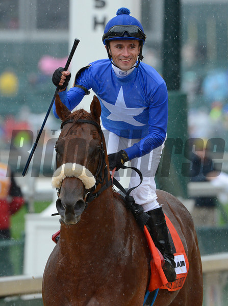 Berlino Di Tiger with jockey Leandro R. Goncalves wins the 19th running of The Twin Spires Turn Sprint at Churchill Downs in Louisville, Kentucky May 3, 2013.<br /> Skip Dickstein Photo