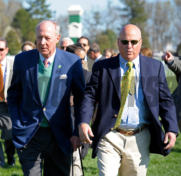 Caption: Owner G. Watts Humphrey Jr., left, with trainer Rusty Arnold<br /> Centre Court with Julien Leparoux wins the Jenny Wiley.<br /> Keeneland racing scenes during April 13,  2013, at Keeneland in Lexington, Ky.<br /> JennyWileyANDMadison1  image<br /> Photo by Anne M. Eberhardt