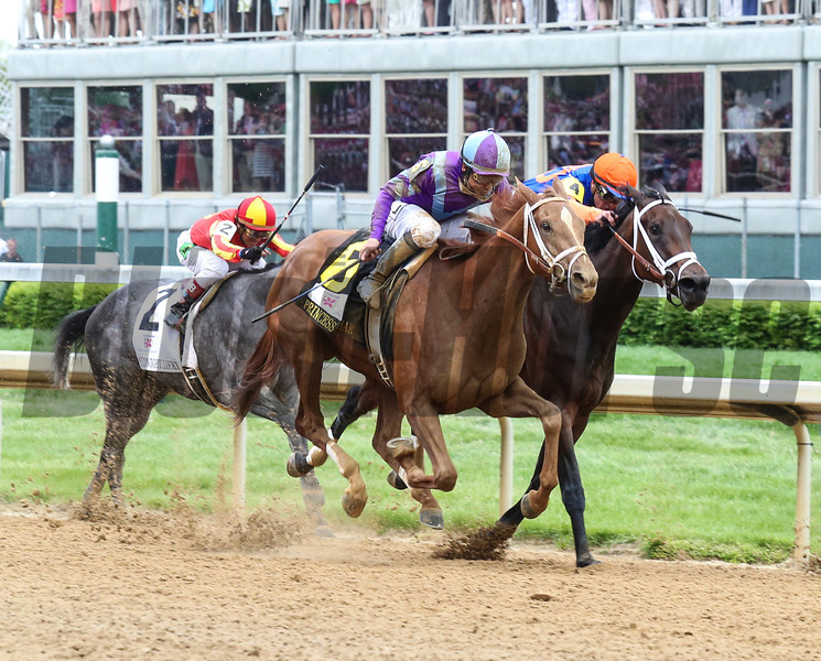 Princess of Sylmar and jockey Mike Smith roars past Beholder in the lane to win the Longines Kentucky Oaks (gr. I) May 3 at Churchill Downs. At 38-1, she's the second highest-priced winner in Oaks history.<br /> Photo by: Kevin Thompson
