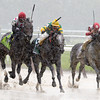 Souper Speedy ridden by jockey Jose Lezcano, left was placed first after a claim of foul on #5 Big Screen ridden by Irad Ortiz Jr. and won the 30th running of The Jaipur June 7, 2013 at Belmont Park in Elmont, N.Y.  Photo by Skip Dickstein