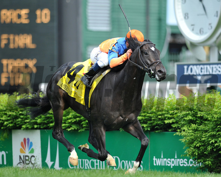 Noble Tune, Javiar Castellano up, wins the American Turf Stakes, 2013 Churchill Downs, Louisville, KY photo by Mathea Kelley