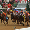 Traffic jam at the start of the 2013 Kentucky Oaks.<br /> © Photo by Courtney Bearse.