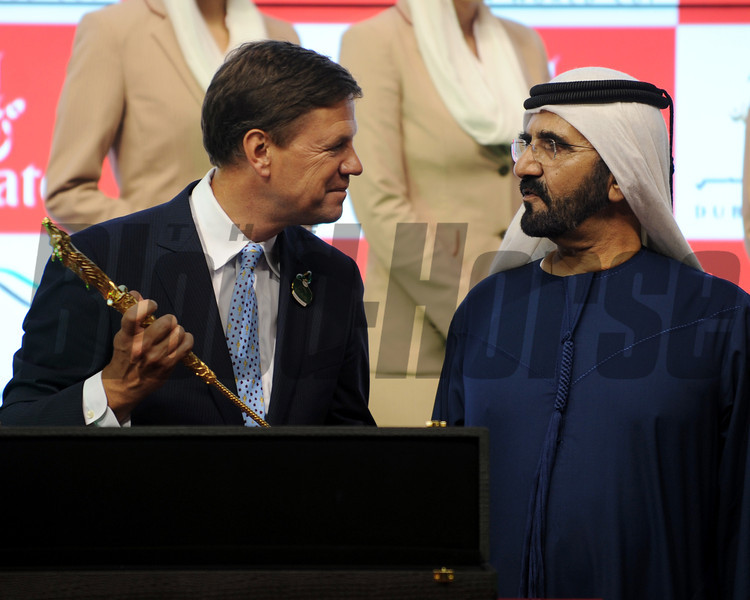 Animal Kingdom trainer Graham Motion and Sheikh Mohammed following the Dubai World Cup.<br /> Photo by Dave Harmon