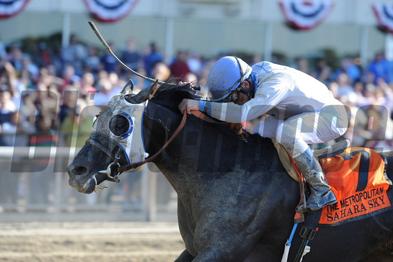 Sahara Sky and jockey Joel Rosario wins the 2013 Metropolitan Handicap aka Met Mile at Belmont Park.<br /> Photo by: Adam Mooshian/Cogianese Photos