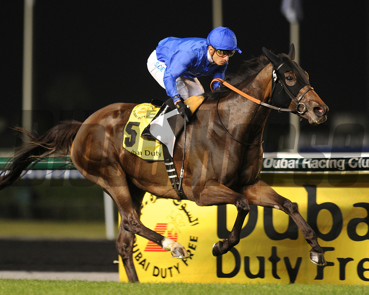 Sajjhaa, Silvestre De Sousa up, wins the Dubai Duty Free, Meydan, Dubai World Cup Day<br /> March 30, 2013, photo by Mathea Kelley