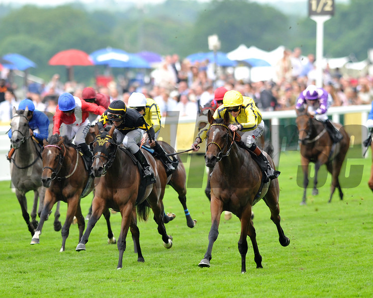 RIzeena, James Doyle up, wins the Queen Mary Stakes, Royal Ascot; UK, photo by Mathea Kelley; 6/19/13
