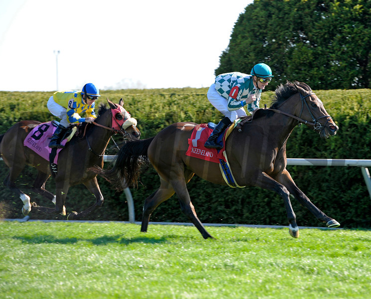 Caption: <br /> Centre Court with Julien Leparoux wins the Jenny Wiley. Daisy Devine with James Graham in second.<br /> Keeneland racing scenes during April 13,  2013, at Keeneland in Lexington, Ky.<br /> JennyWileyANDMadison1  image571<br /> Photo by Anne M. Eberhardt