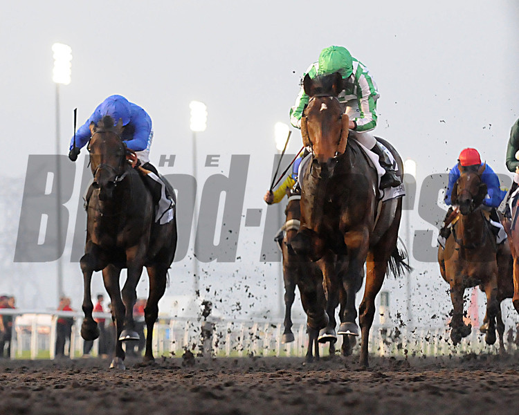 Lines of Battle, Ryan Moore up, wins the UAE Derby,  Meydan, March 30th, 2013, photo by Mathea Kelley<br /> Dubai World Cup Day
