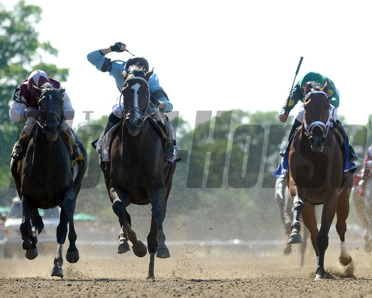 Tiz Miz Sue charges toward the finish line in the 2013 Ogden Phipps Handicap at Belmont Park.                               <br /> Photo by: Adam Coglianese/NYRA