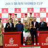 The Dubai World Cup trophy presentation with the connections of Animal Kingdom.<br /> Photo by Dave Harmon