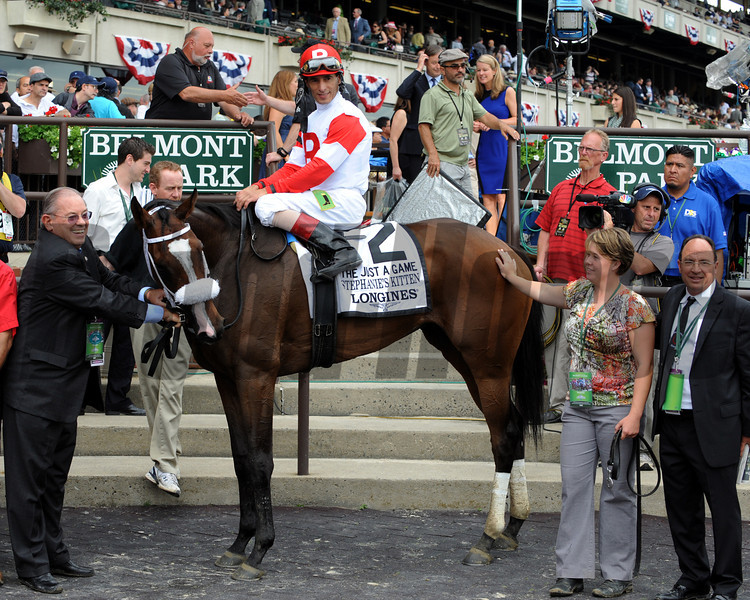 Stephanie's Kitten w/John Velazquez up win the 20th Running of The Just A Game (GI) at Belmont Park on June 8, 2013. Photo By: Dave Harmon
