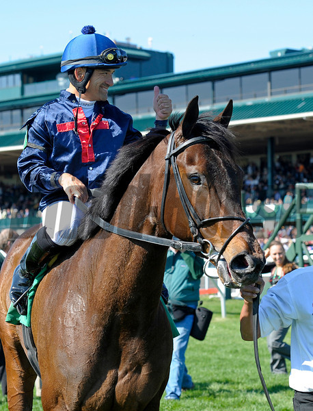Caption: Nakatani gives a thumbs up on Last Full Measure as he enters the winner's circle.<br /> Last Full Measure with Corey Nakatani wins the Madison.<br /> Keeneland racing scenes during April 13,  2013, at Keeneland in Lexington, Ky.<br /> JennyWileyANDMadison1  image451<br /> Photo by Anne M. Eberhardt