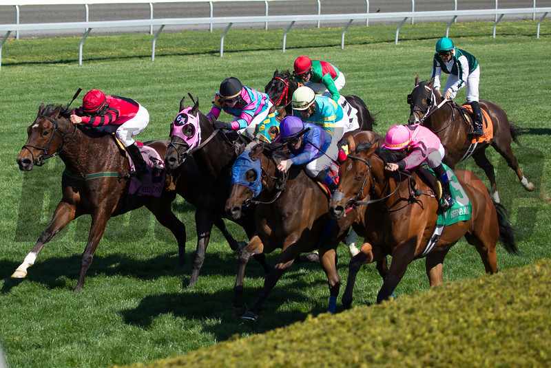 Havelock with Garrett Gomez, (along rail in pink silks #5), aboard noses a win in the 17th Running of The Shakertown (Grade III) at Keeneland on April 13, 2013.  Photo by Mark Mahan