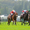 Longchamp 6/10/13 Prix de L'Abbaye. Maarek (red an white) centre<br /> Trevor Jones Photo