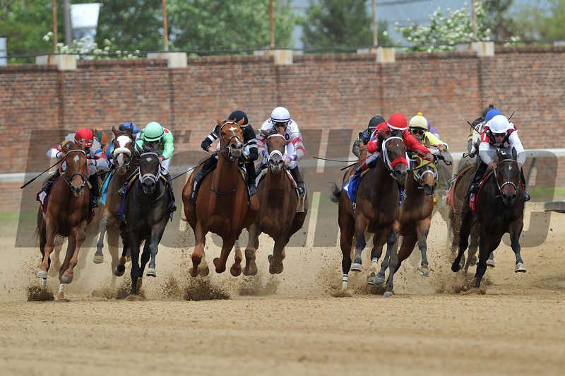 So Many Ways, Garrett Gomez up, wins the Eight Bells Stakes, Final Turn, 2013 Churchill Downs, Louisville, KY photo by Mathea Kelley