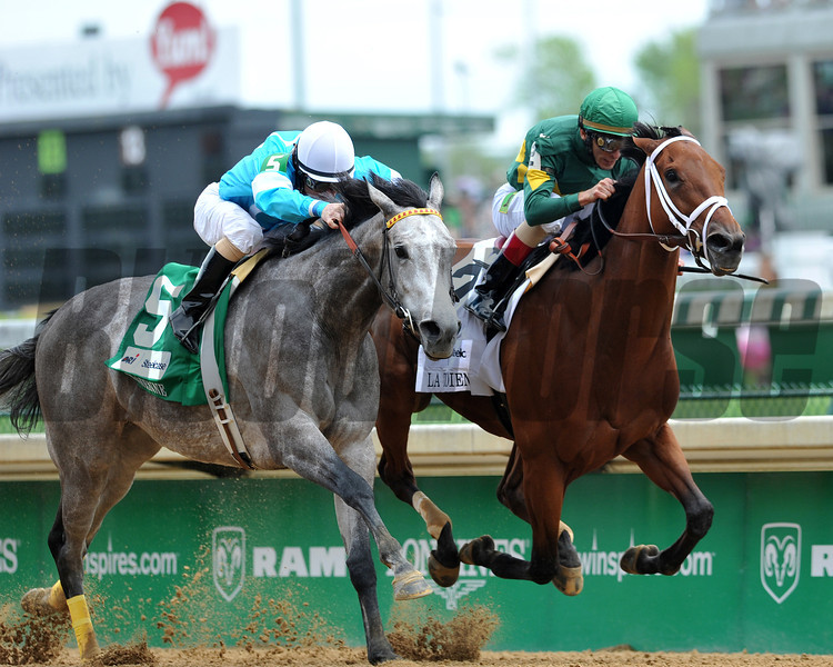 Authenticity, John Velaszequez up, wins the La Troienne Stakes, 2013 Churchill Downs, Louisville, KY<br /> ©Photo by Mathea Kelley
