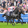 Slade Power, W.M. Lordan up, wins the Sprint Stakes British Champions Day, Ascot Racecourse, England, 10/19/13, photo by Mathea Kelley