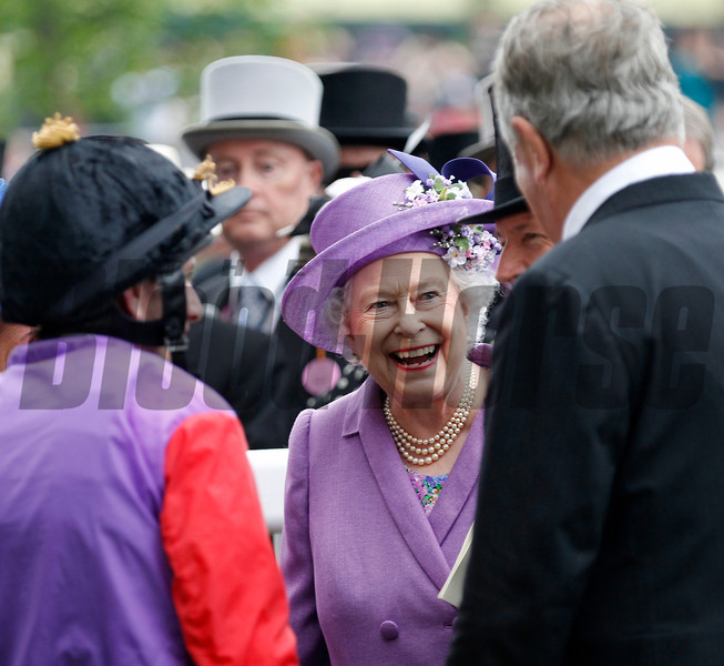 Racing from Royal Ascot 20/6/13. The Ascot Gold Cup .<br /> The Queen with  Michael Stoute and Ryan Moore (left) after winning The Ascot Gold Cup<br /> Trevor Jones Photo
