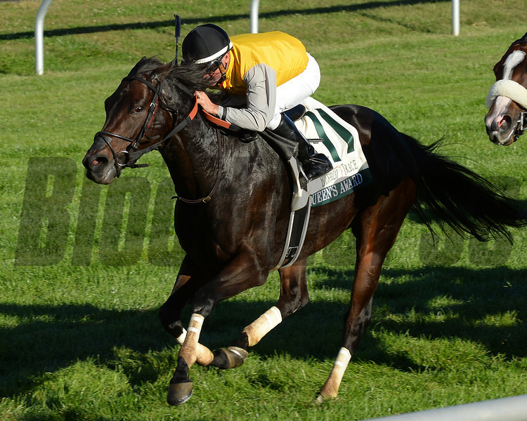 Queens Award, Kent Desormeaux up, wins the Buffalo Trace Franklin County Stakes, Keeneland Race Course; Lexington; photo by Mathea Kelley; 10/11/13;