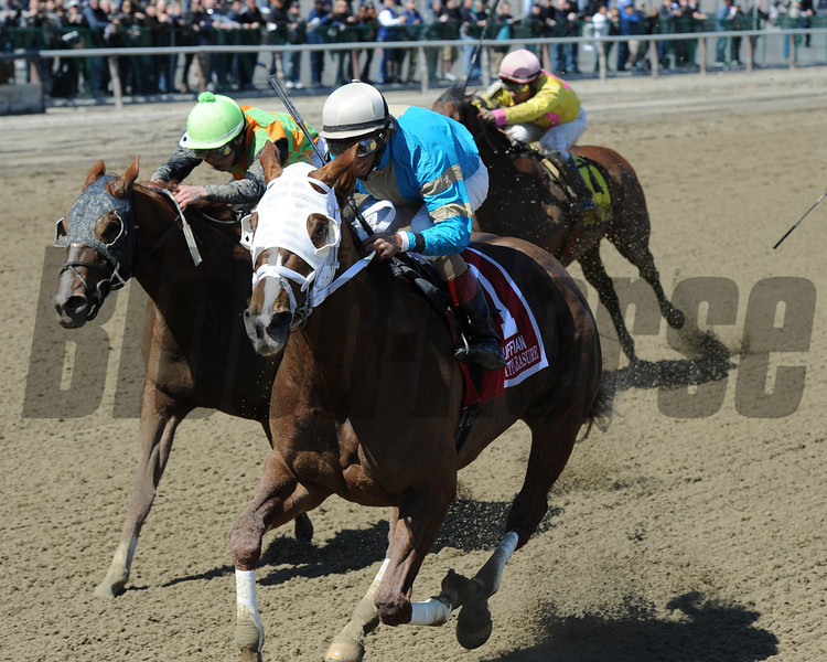 Withgreatpleasure, John Velazquez up, wins the Gr2 Ruffian at Aqueduct.<br /> Coglianese Photos/Chelsea Durand