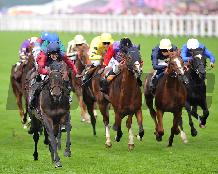 Elidor, Martin Harley up, wins the King George V  Stakes, Royal Ascot; UK, photo by Mathea Kelley; 6/20/13