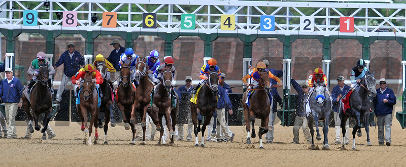 Princess of Sylmar wins the 2013 Kentucky Oaks.<br /> © 2013 Rick Samuels/The Blood-Horse