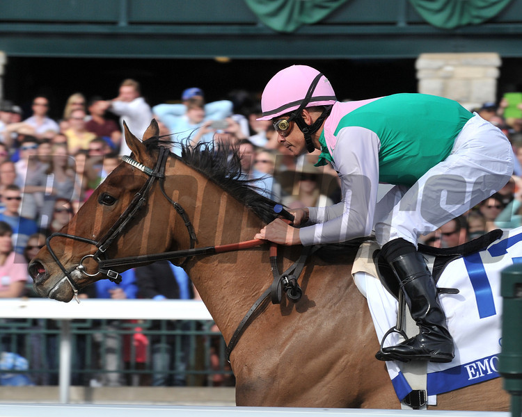 Emmolient, MIke Smilth up wins the Asland Stakes, Keeneland Race Track, Lexington, KY 4/6/13, photo by Mathea Kelley