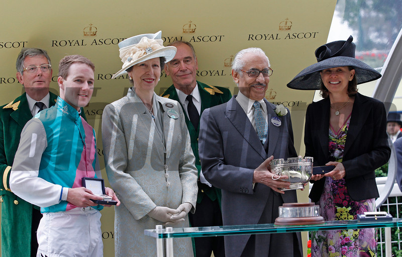 Racing from Royal Ascot The Ribblesdale Stakes 20/6/12<br /> Riposte wins Tom Quealy, Princess Royal,Khalid Abdullah and Lady Jane Cecil.<br /> Trevor Jones Photo