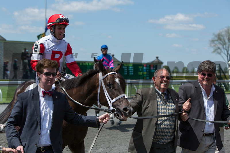 For the first time in Keeneland history an owner has saddled 13 winners in a meet.  Kenneth L. and Sarah K. Ramsey set the  meet-leading total to a record setting 13 on Saturday April 20, 2013 with Scealeile ridden by Joel Rosario in the first race of the day at Keeneland.<br /> ©Photo by: Mark Mahan