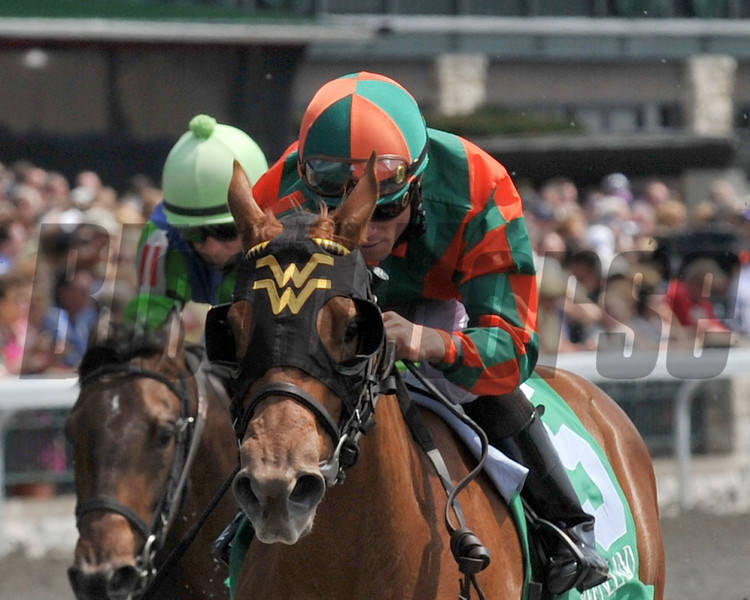 Trainer Wesley Ward, Mary at the Cove, Joel Rosaio up, wins Maiden Special Weight, Keeneland Race Course, Lexington, KY, April 18, 2013, <br /> ©Photo by Mathea Kelley