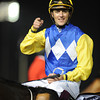 Christophe Soumillon celebrates after winning the 2013 Al Quoz Sprint aboard Shea Shea.<br /> Mathea Kelley Photo