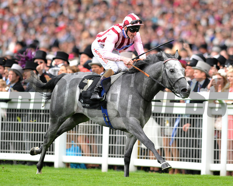 Lethal Force, Adam Kirby up, wins the Diamond Jubilee  Stakes, Royal Ascot; UK, photo by Mathea Kelley; 6/21/13