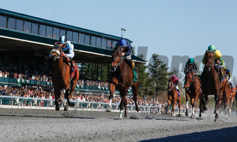 Last Full Measure with Corey Nakatani aboard, middle of track, wins the 12th Running of The Madison (grade I) at Keeneland on April 13, 2013.  Photo by Mark Mahan