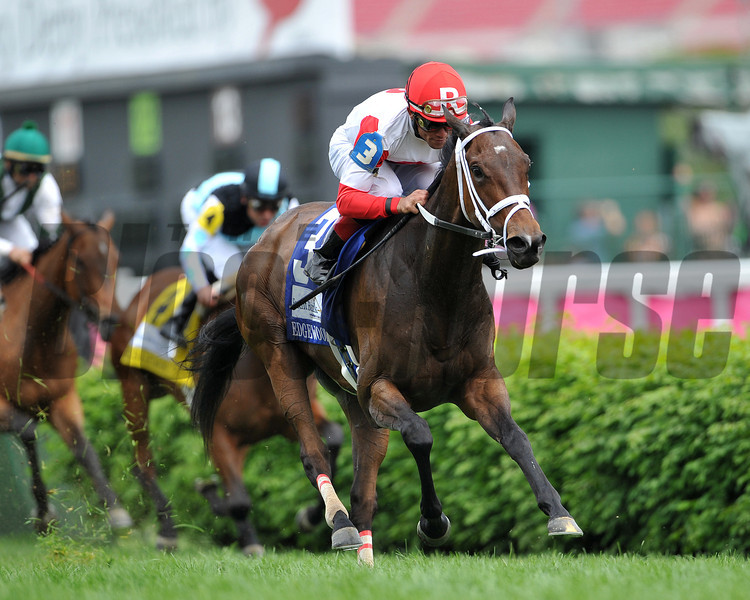 Kittens Dumplings, Joel Rosario up, wins the Edgewood Stakes, 2013 Churchill Downs, Louisville, KY photo by Mathea Kelley