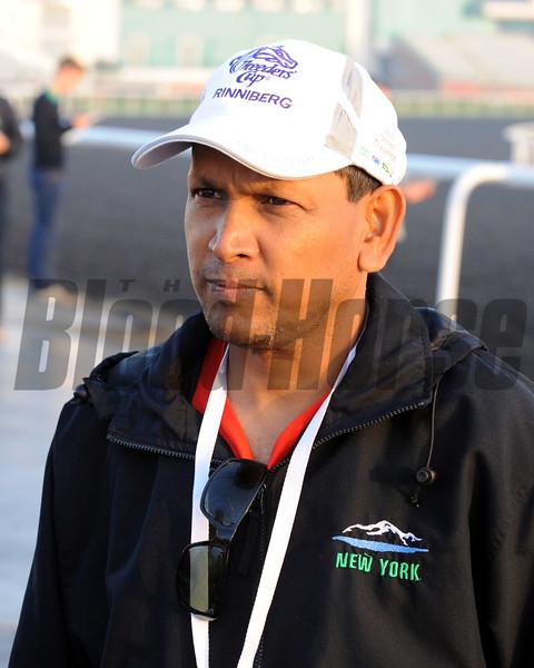 Shivananda Parbhoo, trainer of Trinniberg<br /> Dubai, March 28, 2013<br /> Dave Harmon Photo