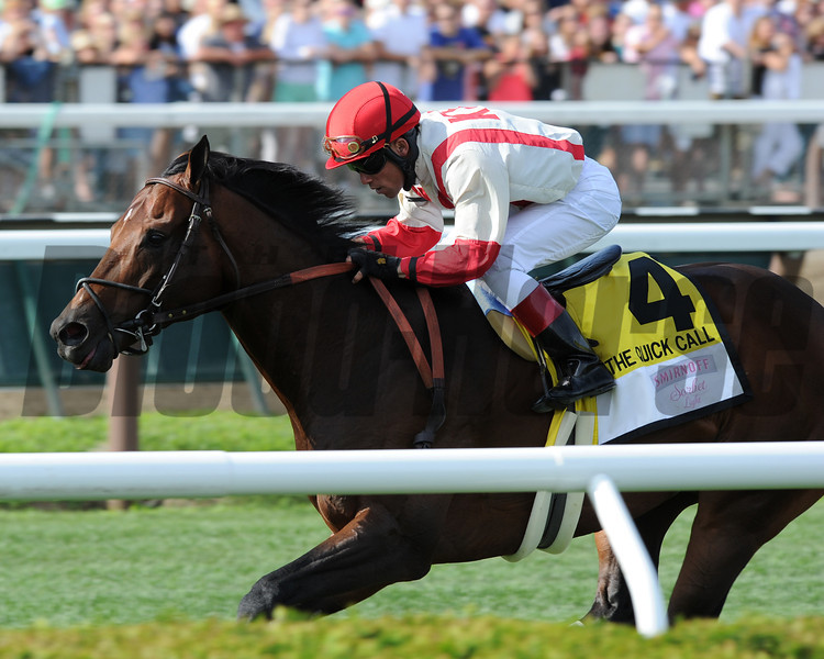 Central Banker wins the 2013 Quick Call Stakes.<br /> Coglianese Photos/Adam Mooshian